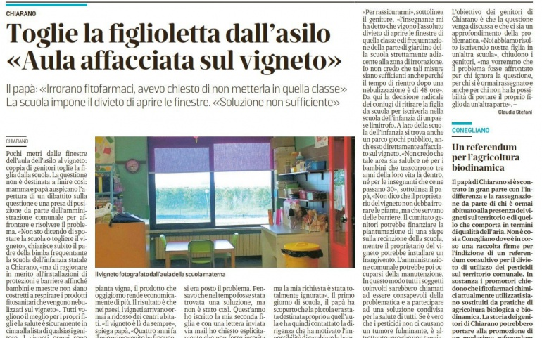 Rassegna Stampa:Toglie la figlioletta dall'asilo <<aula affacciata sul vigneto>>